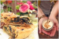Catering | Squash Blossom Kitchens - Swiss chard quiche with Gruyere and parfaits with dried fruit compote in mason jars