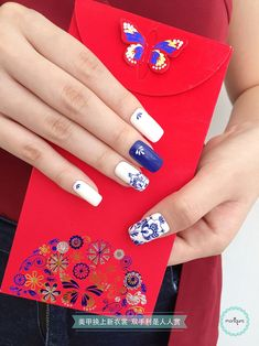 Cute and Trendy Square Nails Design - Page 26 of 76 - Soflyme Square Nail Designs, Blue Nail Designs, Beautiful Nail Designs, New Years Nail Art, Mary Janes, Blue Glitter, Glitter Flowers, Art Flowers, New Year's Nails