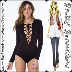 """SALE🌻NWT Black Lace Up Plunging Neckline Bodysuit Available in size: L Measurements taken from a small: Length: 20"""" Bust: 30"""" (measured fully laced/closed) Waist: 36"""" Measurements taken unstretched  Rayon/Spandex  Features: • úber soft material, has stretch • plunging lace up neckline • lace up detailing (makes bust accommodating to multiple bust sizes due to material's stretch & lace up feature) • long sleeves • light, breathable material • snap button closure   No pp or trades Bundle…"""