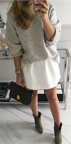 #winter #fashion /  Grey Knit   White Skirt   Green Booties