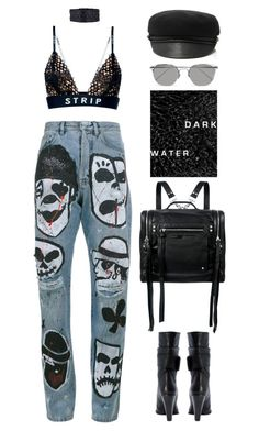 """coup d'état"" by mikaylaperrine ❤ liked on Polyvore featuring Faith Connexion, Alexander Wang, McQ by Alexander McQueen, Chanel, Linda Farrow and Eugenia Kim"
