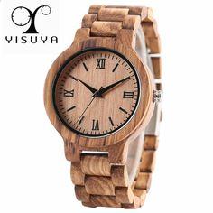 YISUYA Přírodní dřevěné bambusové hodinky Muži ručně vyrobené celé dřevěné  kreativní dámské hodinky 2018 Nové módní křemenné hodiny Vánoční dárek 1df7793e023
