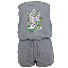 Hot Jumpsuit, watercolor wild flowers. Summer, sexy Kombinezon, akwarela z bzami. Lato