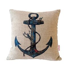 "HOSL Cotton Linen Square Throw Pillow Case Decorative Cushion Cover Pillowcase for Sofa Blue Rusty Anchor with Coral 18 ""X18 "" (1, Square), http://www.amazon.com/dp/B00E4JM0O2/ref=cm_sw_r_pi_awdm_r8rtxb1GBAP7T"