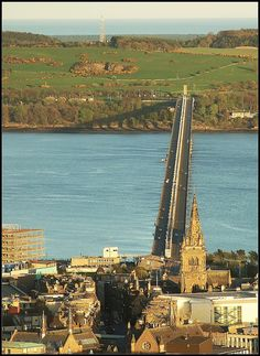 Dundee, Scotland - The Tay Road Bridge is perfectly aligned with the highest point in the city, the Dundee Law.
