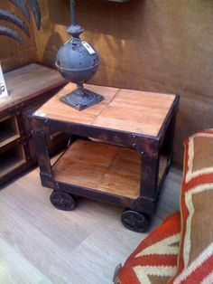 £173.90 Would make pretty neet bedside tables... 'Factory Cart' ~ Industrial Style ~ Weathered Timber Side Table ~ REDUCED | eBay