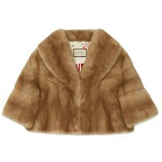 Gucci Natural Mink Cropped Coat (€13.820) ❤ liked on Polyvore featuring outerwear, coats, coats & furs, ready-to-wear, women, slouchy coat, mink coat, brown coat, gucci coat and cropped coat