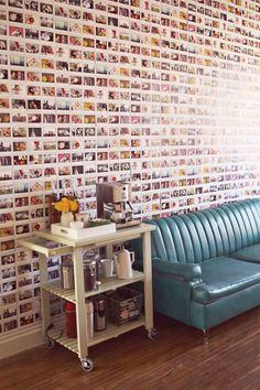 DIY Instax Wallpaper - I like this, it reminds me of the wall covered in Reader's Digest back covers @ my folks' house!