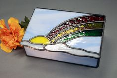 Stained Glass Keepsake Box With Rainbow G1305 by SierraCreations, $30.00