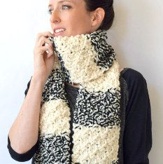 The Winter Nights Easy Knit Scarf is a quick and easy free knitting pattern you can whip up as a gift or for charity. Because this knitted scarf is made with self striping yarn, you get a beautiful contrast of black and white. Knitted Throw Patterns, Easy Knitting Patterns, Knitted Blankets, Scarf Patterns, Knitted Cowls, Crochet Patterns, Knitting Ideas, Knitting Terms, Free Knitting