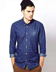 Jack & Jones Originals Denim Shirt with Boat Print