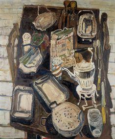 John Bratby - Kitchen still life with sculpture,...