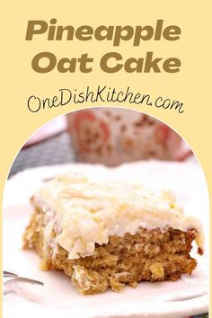 This old-fashioned Pineapple Oat Cake recipe is a family favorite! Made with canned pineapple, it's a light and flavorful oatmeal cake topped with a low calorie cream cheese frosting.