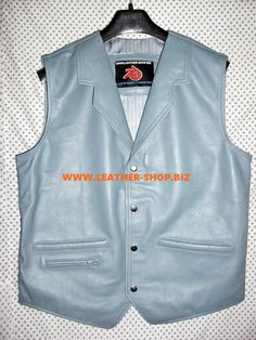 leather vest western Style Gray color MLV86 all sizes, colors and options available it is custom made