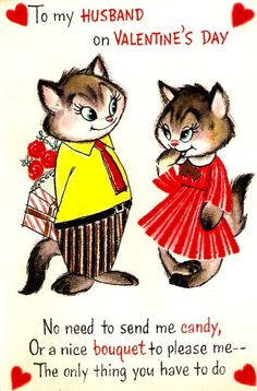 Vintage Valentine Card Cats Couple Love by PaperPrizes on Etsy