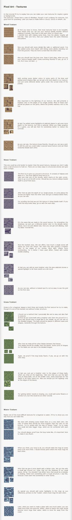 Pixel Art Tutorial - Textures by *Kiwinuptuo on deviantART ✤ || CHARACTER DESIGN REFERENCES | キャラクターデザイン |