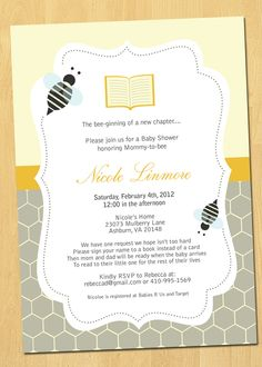 Books and Bees Baby Shower Invitation Printable. $14.00, via Etsy.