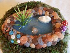 Miniature fairy garden pond. by PuppyLoveMiniature on Etsy