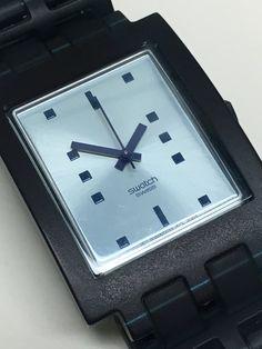 Square Swatch watch Navy Nightbird SUAS100 Mint by ThatIsSoFunny