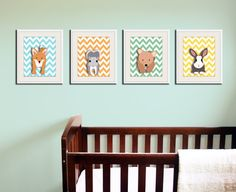 Owl nursery art for children. Chevron zigzag print. 11x14 Woodland forest animals, friends & critters pictures for baby art for kids