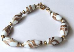 1940s Murano Venetian Glass Bracelet, White Gold, Bracelet  #vintage #jewelry #fashion