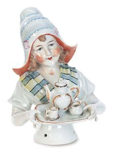 """. Large German Porcelain Half Doll Known as """"Baker's Cocoa Lady"""""""