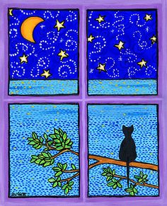 "Black Cat, ocean, purple, moon stars - 11 x 14"" Print by Shelagh Duffett"