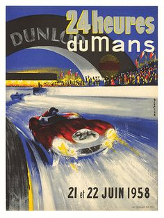 Free Shipping   24 Heures Dumans 1958   Poster by WallArty on Etsy