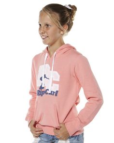 SURF DIVE 'N' SKI | JETTY SURF - KIDS - GIRLS CLOTHING - GIRLS JUMPERS AND HOODIES - KIDS RIPTIDE HIGH HOODIE BY RIP CURL IN SALMON ROSE $49.99