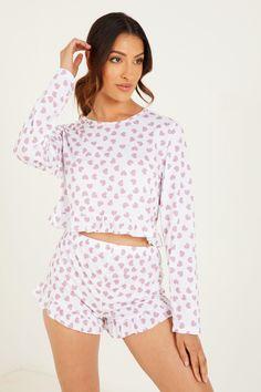 Short Set, Pajama Shorts, Heart Print, Printed Shorts, No Frills, Pajama Set, Rompers, Fashion Outfits, Long Sleeve