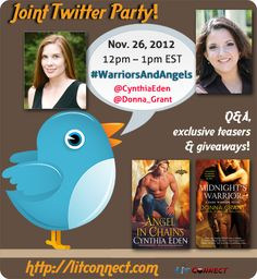 Joint Twitter Party: @CynthiaEden & @Donna_Grant; 11/26 12-1pmEST
