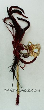 Red/Gold Masquerade Feather Stick Mask