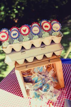 Mini cupcakes in an egg carton. So cute! Especially for a barn yard theme party!