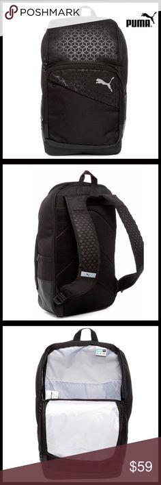 """⭐️⭐️ PUMA BLACK LARGE COMMUTER BACKPACK NEW WITH TAGS PUMA LARGE COMMUTER BACKPACK  DETAILS-  * Top handle   * 2-way top zip around closure  * Exterior 3 zip & 2 side slip pockets  * Logo & design detail  * Adjustable, thick padded shoulder straps; Approx 20""""-33"""" drop  * Interior 4 slip pockets, 1 zip pocket, 4 pencil slots, & key ring holder  * Lined  * Approx 19"""" H x 11"""" W x 5"""" D  * Approx 3.5"""" handle drop   MATERIAL- Polyester  COLOR- BLACK  - FAST SHIPPING  - OFFERS CONSIDERED  SEARCH#…"""