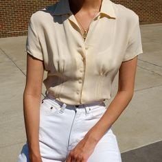 Vintage bone 100% silk double breasted short sleeve