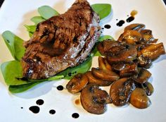 Steak with Balsamic Reduction and mushrooms