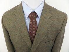 Marco Biella Men's 3 Button Blazer Jacket SportCoat Plaid Brown Wool sz 42R #BiellaMarcoBiella #ThreeButton