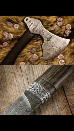 A Damascus steel axe and knife pairing Swords And Daggers, Knives And Swords, Vikings, Viking Axe, Viking Horn, Tomahawk Axe, Grandeur Nature, Beil, Battle Axe
