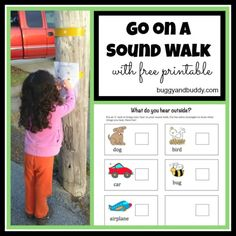 Outdoor Activities for Kids: Go on a Sound Walk (with free printable) Such a fun outdoor activity for kids! Print out this FREE printable and head out on a sound walk! - Buggy and Buddy 5 Senses Activities, Nature Activities, Outdoor Activities For Kids, Outdoor Learning, Sensory Activities, Educational Activities, Learning Activities, Preschool Activities, Outdoor Education