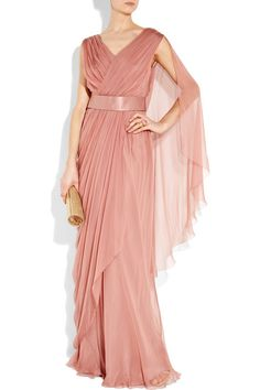 Alberta-Ferretti-draped-silk-chiffon-gown-1. Nice mother of the bride dress, maybe in a less-saturated version of one of our colors #mob