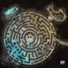 Under Ziggurat Maze by Zatnikotel on DeviantArt Dnd World Map, Fantasy World Map, Fantasy City, Dungeons And Dragons Game, Dungeons And Dragons Homebrew, Star Citizen, Dark Fantasy, Pathfinder Maps, Pen & Paper
