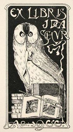 Walther Baedeker (German, fI. early 20th) Art Noveau Owl  Ex Libris for Ida Schur. Woodblock ca. 1900. Signed in block.