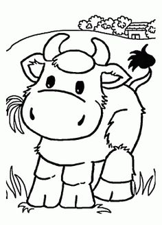 Little Cow Eating Grass Coloring Page For Kids, Animal Coloring Pages  Printables Free