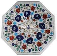 """18"""" Marble Coffee Table Top Mosaic Gems Inlaid Marquetry Furniture Decor H3044A $390 ebay"""