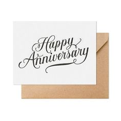 The Happy Anniversary card is letterpress printed on antique machinery. Black ink on bright white paper with kraft envelope. Happy Anniversary Lettering, Happy Anniversary Cakes, Happy Marriage Anniversary, Work Anniversary, One Year Anniversary Gifts, Anniversary Cards, Anniversary Quotes For Parents, Anniversary Cookies, Anniversary Scrapbook