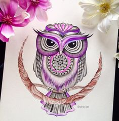 Image about art in tyg by mer on We Heart It Owl Tattoo Design, Tattoo Designs, Tattoo Ideas, Skull Tattoos, Tatoos, Crazy Tattoos, Owl Tattoo Chest, Sugar Skull Owl, Buho Tattoo