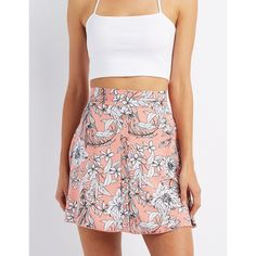 Charlotte Russe Floral Print Skater Skirt ($20) ❤ liked on Polyvore featuring skirts, blush combo, button up skirt, floral circle skirt, flared skirt, button down skirt and red flared skirt