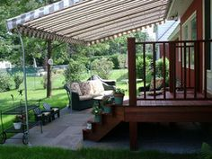 Deck Canopy Affixed To Stone Patio With Gooseneck Support Posts See Next Pic For Alternate
