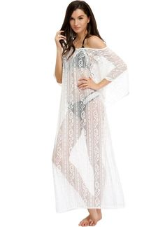 Cheap Sheer Lace V-Neck Batwing Maxi Beachwear for Sale - Chicuu.com