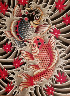 Dont be Koi, acrylic ink and pen liners, me, 2019 Japanese Tattoo Art, Japanese Tattoo Designs, Japanese Sleeve Tattoos, Traditional Japanese Art, Traditional Tattoo, Koi Art, Koi Fish Tattoo, Forearm Sleeve Tattoos, Cartoon Tattoos